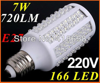 E27 LED Lamp 110V/220V 720LM 166 LED Bulb Corn Light spot light retail and wholesale free shipping