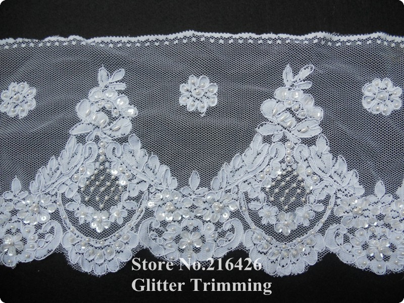 8 7/8&quot; Beaded Alencon Style Lace Trim in White for Veils, Bridal Wear, Altered Couture, Costume Design BBT7(China (Mainland))