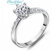 Hot sale jewelry Poshfeel brand Genuine 925 sterling silver & platinum plated & fully-jewelled crystal ladies`wedding rings