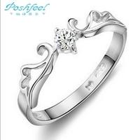 100% Genuine 925 sterling silver & zircon crystal & platinum plated Angel Wings rings women Hot sale