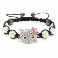 Wholesale 2013 fashion jewelry  Hello Kitty Shamballa Bracelets & Bangles Crystal Shamballa Clay Bracelet Free shipping XB159D