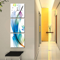 Frameless painting wall clock modern decorative painting the living room wall paintings mural abstract feather