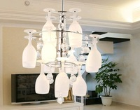 NEW 38cm Modern LED White Glass Wineglass Wine cup Ceiling Light Lamp Lighting Fixture G4 ems free shipping