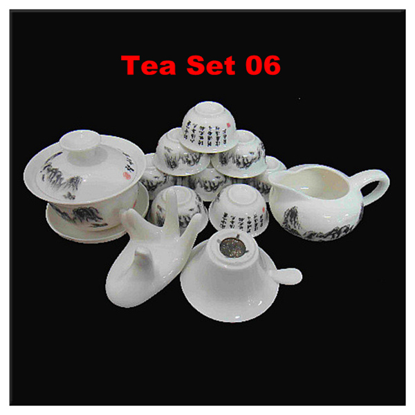 14pcs Fine Chinese Kung Fu Tea Set 1 Ceramic Gaiwan/Teapot 8 Porcelain Bone China Tea Cups Unique Novelty Gift Colorful Tea Set(China (Mainland))