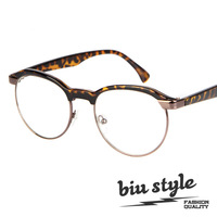 Free shipping Biu style . fashion vintage circle metal frame glasses plain mirror myopia glasses frame