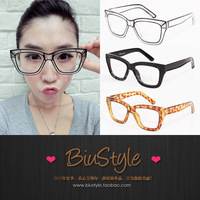 Free shipping Biu style . trend vintage super large plain glass spectacles plain mirror myopia glasses frame glasses
