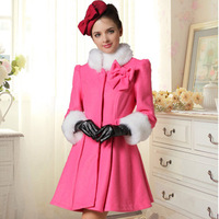70%discount Spring woolen outerwear rose white wool slim waist expansion bottom half sleeve wool coat