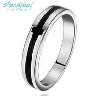 100% Poshfeel brand Genuine 925 sterling silver cross rings men platinum plated finger rings Hot sale