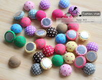 15mm Flat Back Dot cloth covered button,fabric cover buttons,100pcs/lot mixed color wholesale  Free shipping