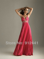 2013 Newest Style A-Line Contour Empire V-neck Draped Off-shoulder Taffeta Floor Length Women Evening Dress ENS1+Free Shipping