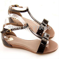 Free Shipping Rome style lovely Bowtie Ankle Strap Wedges buckle Patent Leather Summer Sandals for women Casual Dress Shoes