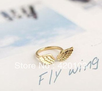 2013 Fashion Punk Style Gold-tone Double Angel Wings Cuff rings golden silver WH5027