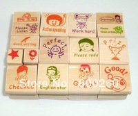 Free shipping Cartoon DIY wooden stamp set for English teacher #8660