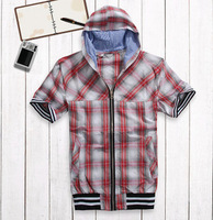 2012 men's clothing t-shirt male short-sleeve with a hood T-shirt short-sleeve plaid free shipping