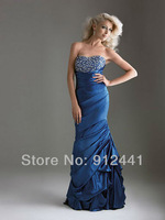 2013 Newest Style Sweetheart Beading & Pleat Off the Shoulder Sleeveless Taffeta Fashion Women Evening Dress ENS4+Free Shipping