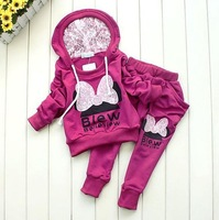 Girls Minnie Cartoon  Lace Clothing Sports Set KidsChildren outerwear hooded jacket Hoodies+Harem Pants tracksuits sportwear
