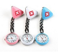 1pcs Doctor Table Nurse Medical Tunic Pocket Students Quartz Brooch Pin Clip Pendant Fob Brooch Watch Cross Triangle  FREESHIP