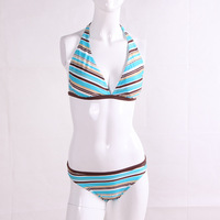 free shipping sexy Teams female professional swimwear stripe twinset bikinis25 swimming equipment quality fabric