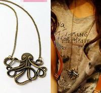 Fashion Jewelry 14pcs Vintage Retro Bronze Octopus Necklaces Long Octopus Necklace 60006