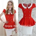 S-L Free shipping red white patchwork double breasted pleated ruffles ladies slim sheath short sleeve mini dress new fashion