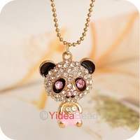 Fashion Chic Crystal Rhinestone Enamel Bear Panda Pendant Chain Necklace 6pcs 261123