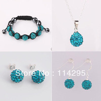 Mix Color Shamballa Jewelry Set 10mm CZ Disco Crystal Ball Beads Bracelet+925 Silver Chain Necklace+Drop/Stud Earrings