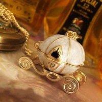 Europe Vintage 6pcs Retro Cinderella Magic Open Pumpkin Cart Crown Pendant Long Necklace 261486