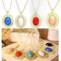 Fashion Metal Necklace 10pcs stone Pendant Antique Necklaces Free shipping 60034 -60039