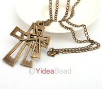 Vintage Jewelry 18pcs Triple Layer Cross Pendant Long Chain Sweater Necklace 261029