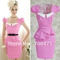 S-L Free shipping rose red sheath cute white square collar ruffles ladies slim puff short sleeve working mini dress new fashion