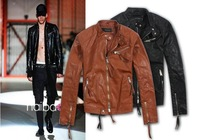 Free Shipping!!! New 2014 Brief paragraph cultivate one's morality man stand collar a motorcycle leather jacket