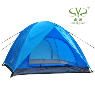 Shengyuan outdoor 3 - 4 double layer double door adhesive rain camping tent camping tent 2.8kg(China (Mainland))
