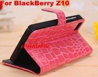Slim Wallet Crocodile Design Leather Case + Screen Protector + Pen For BlackBerry Z10