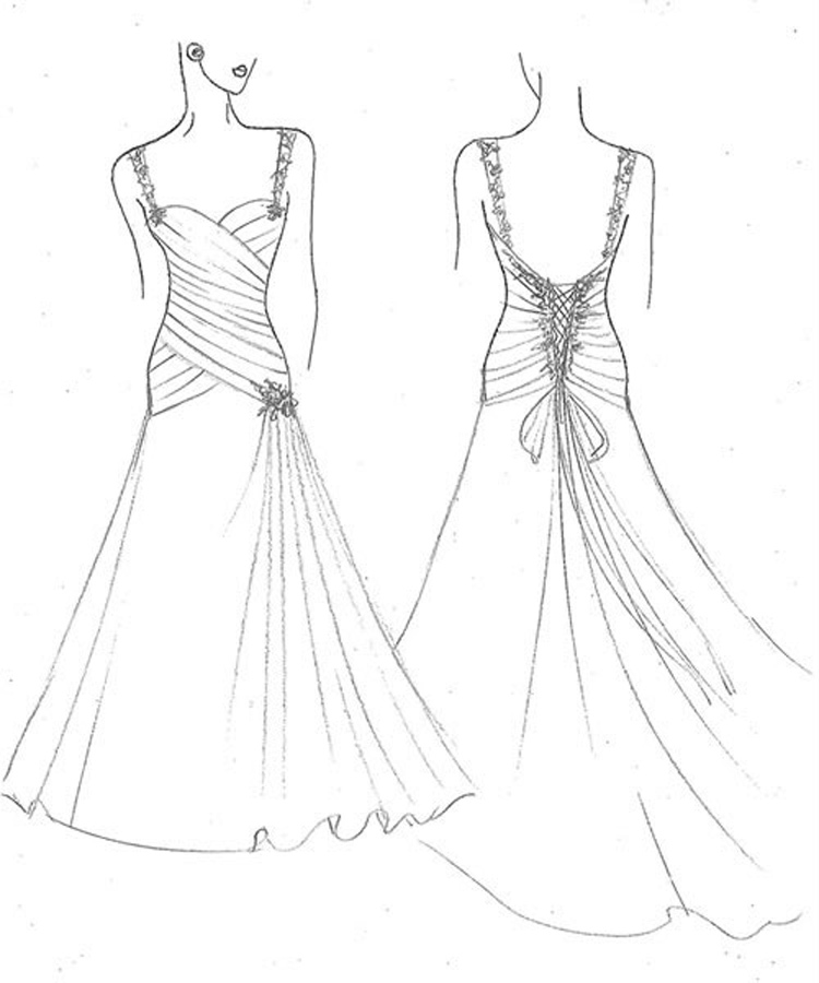 Wedding Dress Line Drawing : Free shipping hollywood a line white long satin bridal wedding dresses
