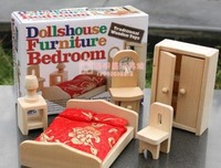 Bedroom  furniture  Miniature wooden dollhouse furniture sets Toys for children Free Shipping