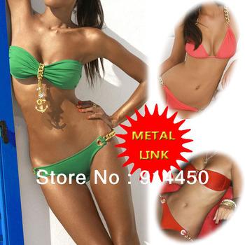 2014 New Fashion Sexy  Women Padded Bikini Set, Metal Chain Link Pendants Swimwear,Bandage Beachwear Swimsuit Bathingsuit Bikini