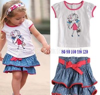 Baby Girl's Fashion Summer Suits Children 2Pieces Clothes Set Tshirt + Skirt 5Sets/lot Free Shipping