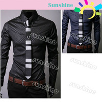 New Fashion Stylish shirt Korea Style Men's Casual  Slim Fit  Shirts 3 color 4 size Free Shipping 3661