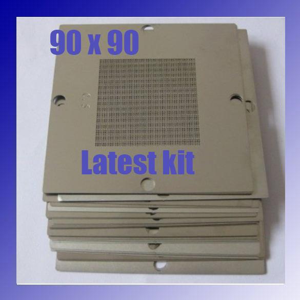 Latest 230 pcs/set 90x90 mmBga Stencils Kit Bga Reball Stencil for Laptop Stencil ATI NV Intel DDR Game Console Chip(China (Mainland))