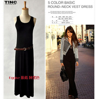 2013 summer black modal ultra long spaghetti strap basic skirt one-piece dress female vest full dress