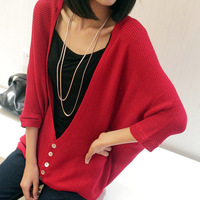 FREE SHIPING 2013 spring and autumn new arrival women's loose knitted sweater outerwear female thread