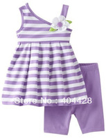 free shipping wholesale Girls purple striped T-shirt+shorts 2pcs sets Children's Outfits 242