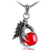 925 pure silver thai silver vintage punk gothic accessories alondra ruby garnet pendant