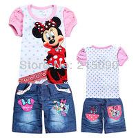 6sets/lot baby girls clothing sets children suit  t-shirt +jeans 2pcs set girl summer set Minnie Mouse short sleeve clothes