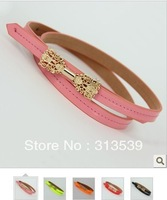 Cutout sweet bow thin belt female japanned leather strap all-match decoration belly chain candy color