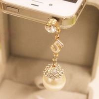 Hot Sale Min Mix Order$10, wholesale, rhinestone pearl pendant dust plug Headphone jack plug for mobile phone
