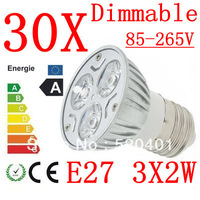 30X High power CREE E27 3x3W 9W 220V Dimmable Light lamp Bulb LED Downlight Led Bulb Warm/Pure/Cool White free shipping