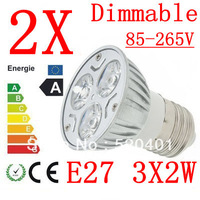 2X High power CREE E27 3x3W 9W 220V Dimmable Light lamp Bulb LED Downlight Led Bulb Warm/Pure/Cool White free shipping
