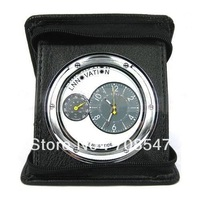 Free Shipping   Leather Case Hidden Clock Camera Motion Detection  Video +rRecycling Recording Support TF Card