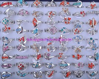 Bulk wholesale 100pcs colored rhinestone silve tone rings